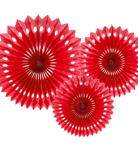 PartyDeco - Tissue fan, red, 20-30 cm (3 ks) - DS015